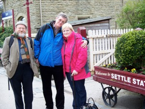 At Settle station - Ian, Griff and Penny
