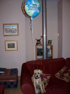 Maud with birthday balloon